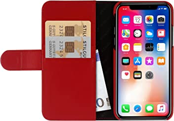 StilGut Custodia per Apple iPhone X/iPhone XS a Portafoglio in Pelle, Rosso Nappa