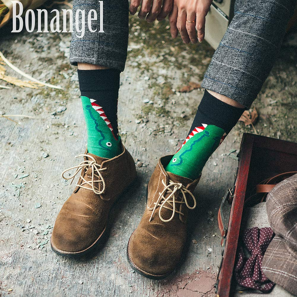 Dress Socks for Men & Women,Colorful Funny Crazy Novelty Fun Dress Socks Pack by Bonangel,Cool Pattern Crew Socks With Gift Box(Crocodile)