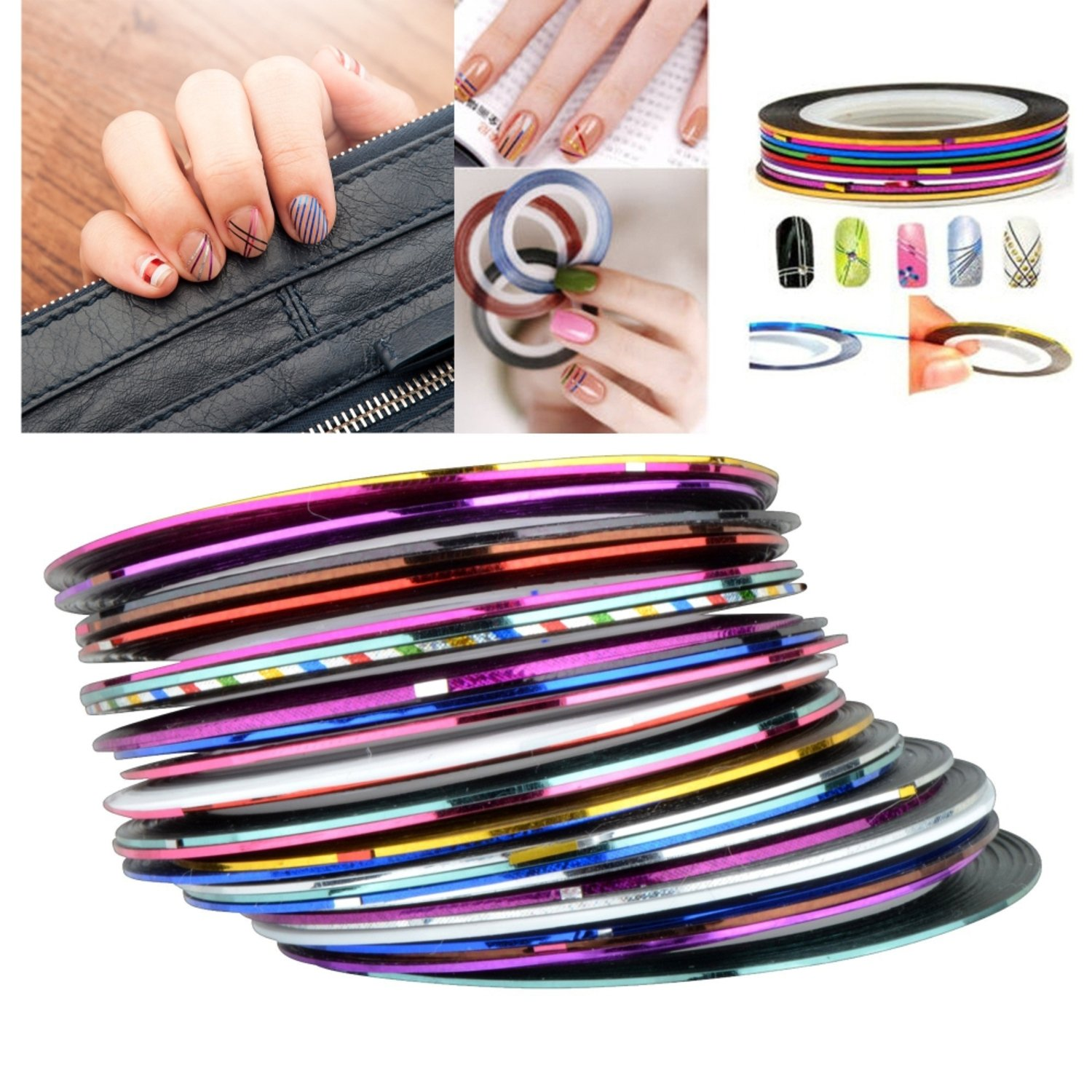 Insten 30Pcs Mixed Colors Rolls Glitter Striping Tape Line Nail Art Tips Decoration Sticker eForCity 2041749