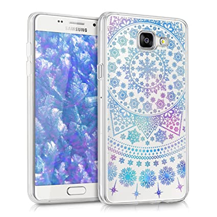 kwmobile TPU Silicone Case for Samsung Galaxy A5 (2016) - Crystal Clear Smartphone Back Case Protective Cover - Blue/Dark Pink/Transparent