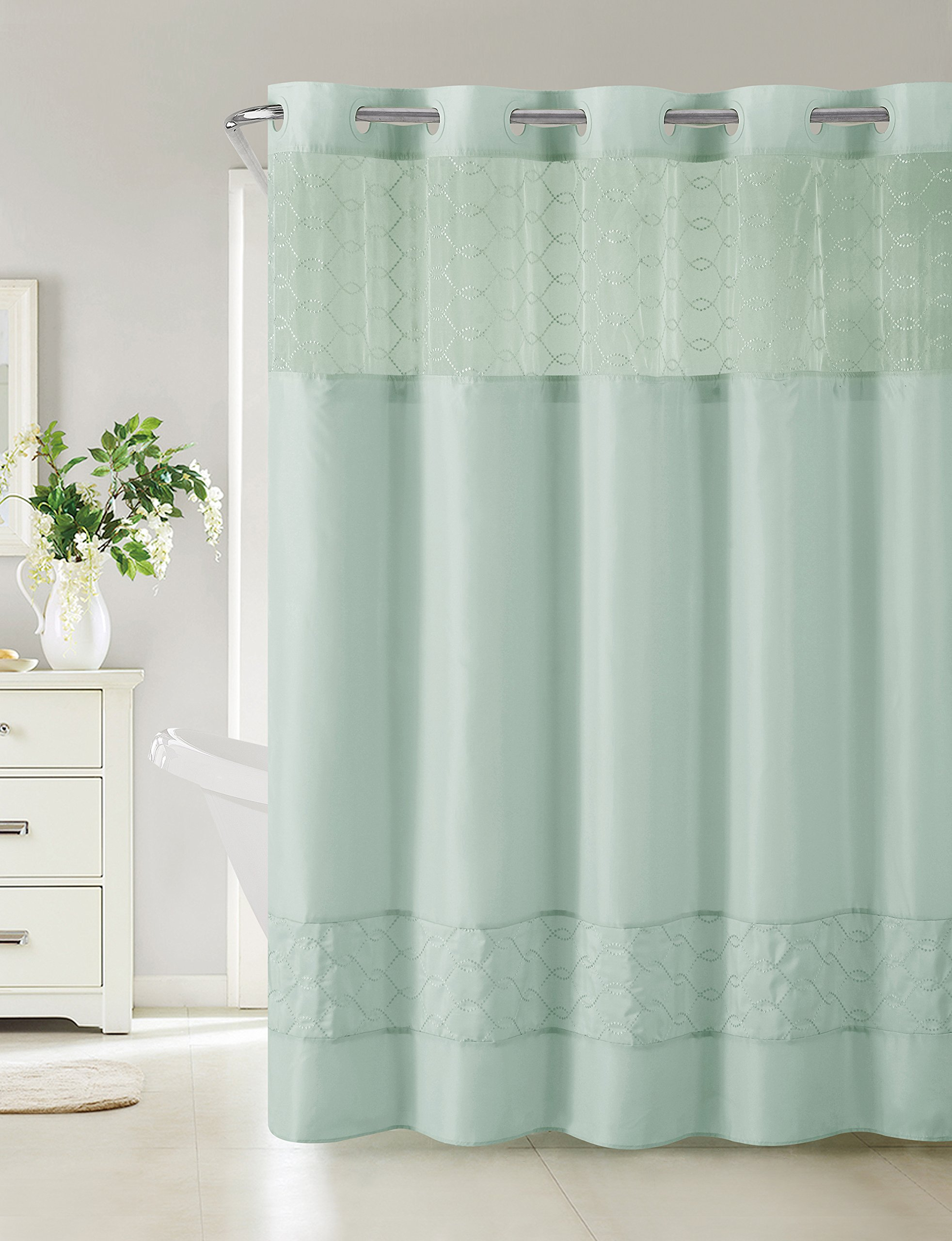 Hookless RBH40MY098 Downtown Soho Shower Curtain with Peva Liner -  Blue