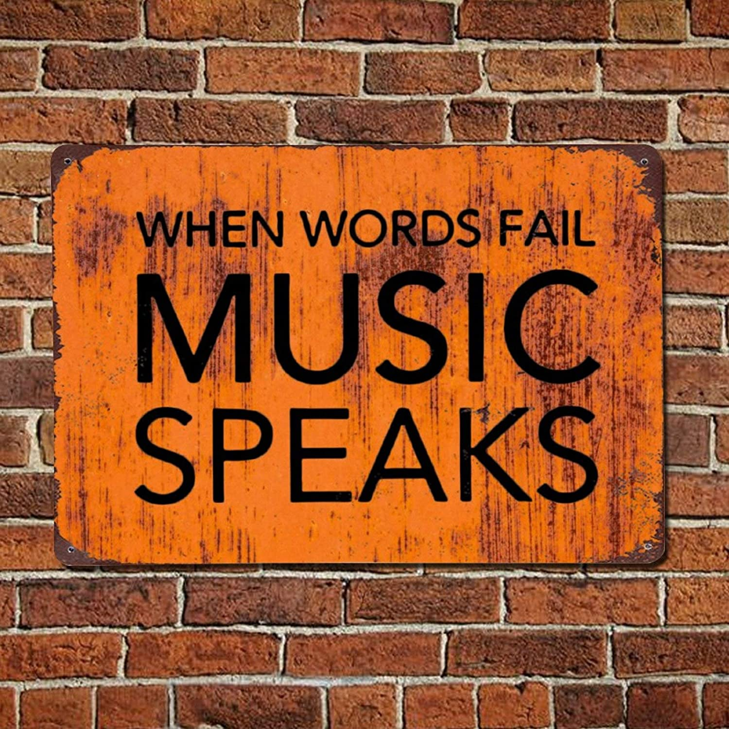 43LenaJon When Words Fail Music Speaks Musician Vintage Quotes Metal Sign,Retro Saying Words Sign,Rustic Funny Quote Saying Bar Men Cave Garden Wall Art,Farmhouse Aluminum Sign,Home Decor