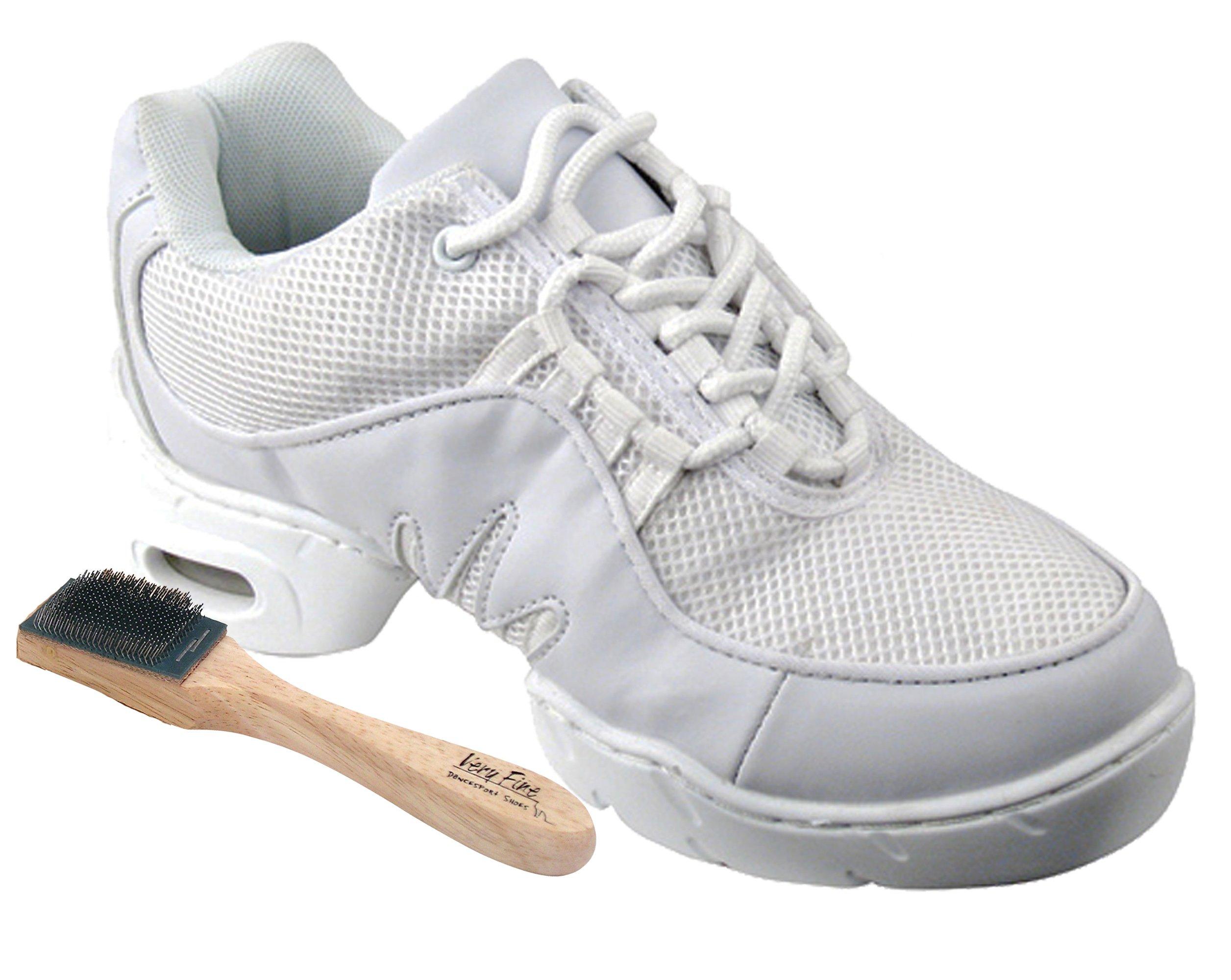 Very Fine Men's Women's Salsa Ballroom Latin Zumba Hip Hop Dance Sneakers Style VFSN002 Bundle with Dance Shoe Wire Brush, White 14.5 M US (US Women 14.5/ US Men 13)