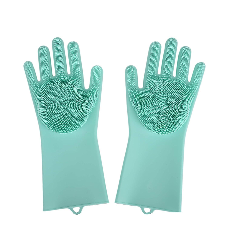 マジックシリコン手袋 洗濯しご付き 耐熱手袋 洗車 洗車 洗車 ペットの髪のお手入れに グリーン B07HP8MLR5 グリーン