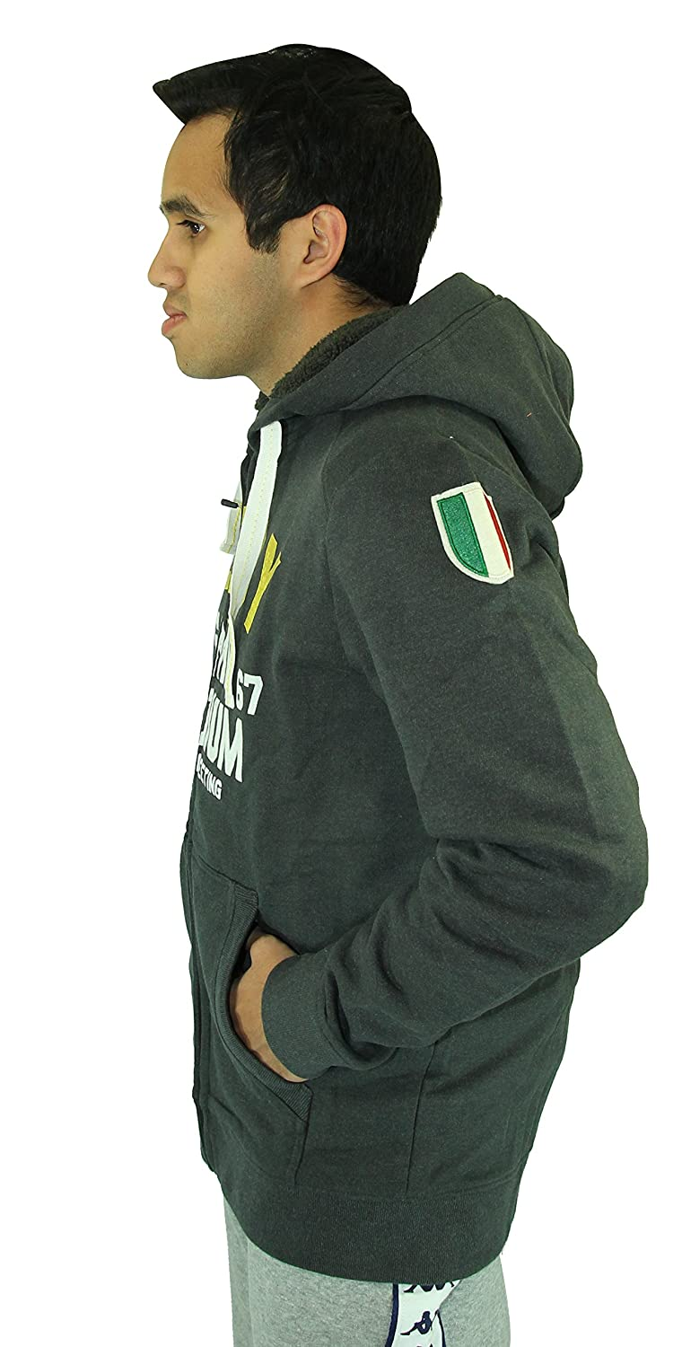 Kappa Slim Fit Italian Designers Mens Charcoal Rugby Fleece Zip Hoodie Winter Jacket
