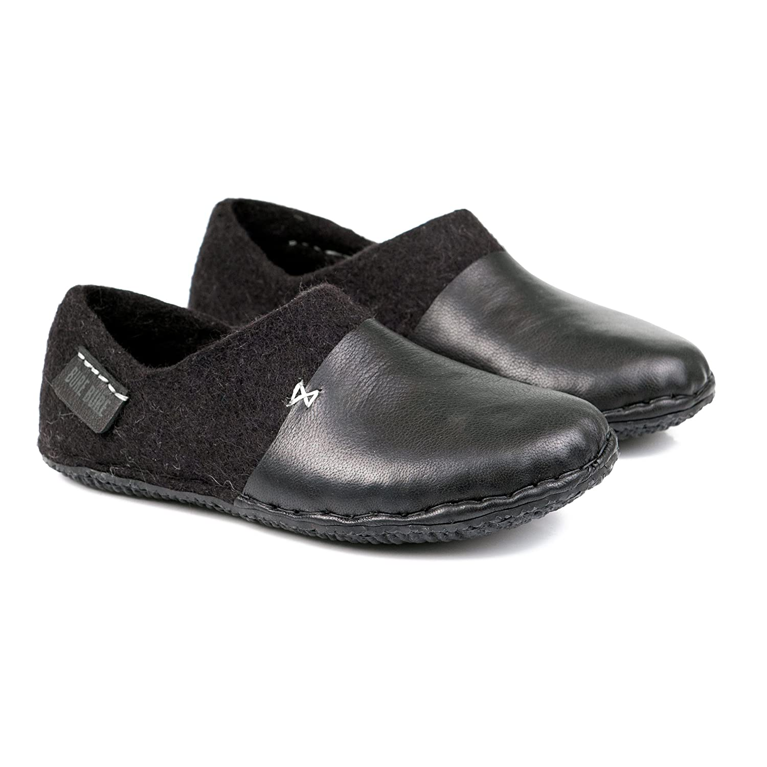 BureBure Men Wool Clogs with Natural Edge Leather Hand Felted in Europe Black