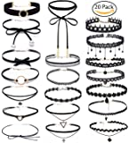 Choker Set, Bassion 20 PCS Womens Black Velvet Choker Necklace Set Classic Gothic Tattoo Lace Chokers