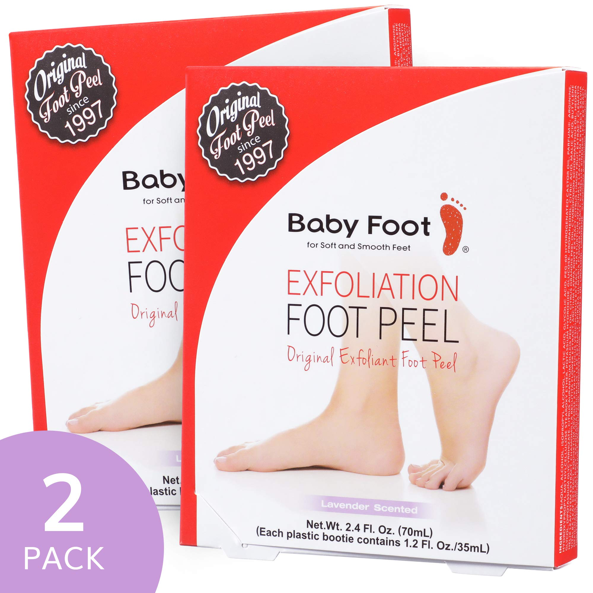 Baby Foot Exfoliant Foot Peel, Lavender Scented, 2.4 Fluid Ounce (Pack of 2)