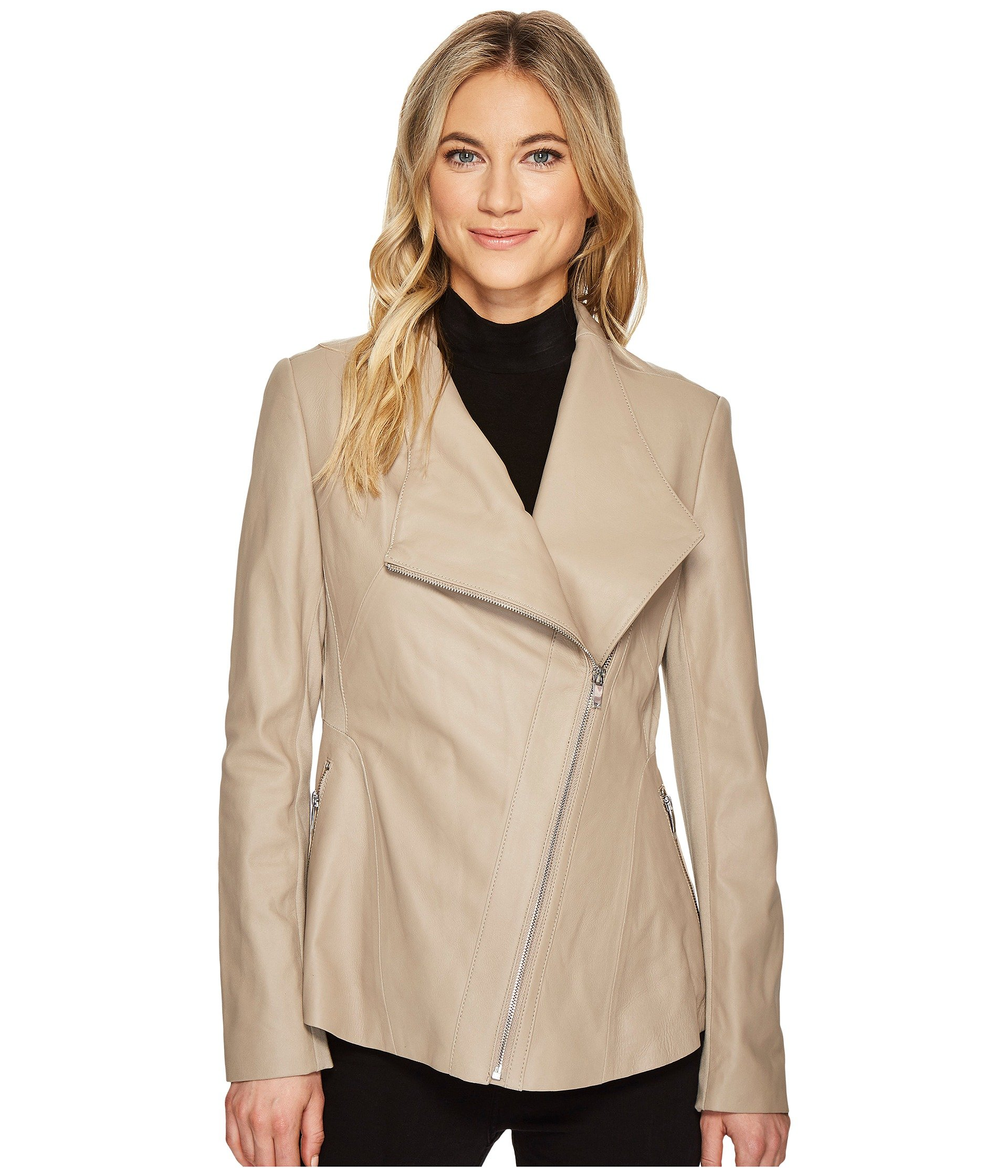 Via Spiga Women's Drape Front Leather Jacket, Taupe, M