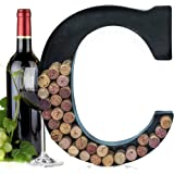 Metal Letter Wine Cork Keepsake Saver & Holder Monogram w/Free Wall Mount Kit A-Z C.