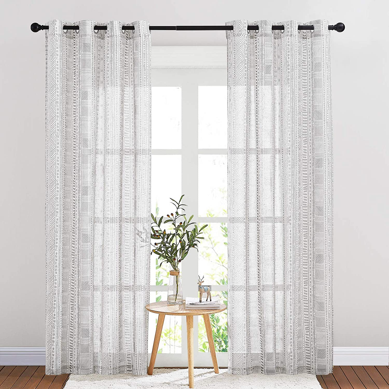 """NICETOWN Flax Semi Sheer Vintage Curtains 84 inches Long, Grommet Bohemian Style Bedroom Window Treatment Natural Linen Weave Privacy with Light Through for Living Room, 50"""" W, 2 Panels, Grey"""