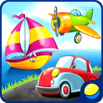 Transport for preschool kids - toddler educational game for learning air,  water, land vehicles and sounds of transportation: a car, a train, an