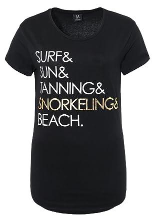 Sublevel Damen Slogan T-Shirt | Basic Print-Shirt | Tailliertes Statement- Shirt