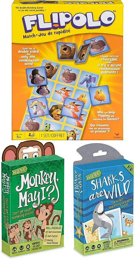 Tarjetas de doble partido para niños con mono y tiburones, juego ...