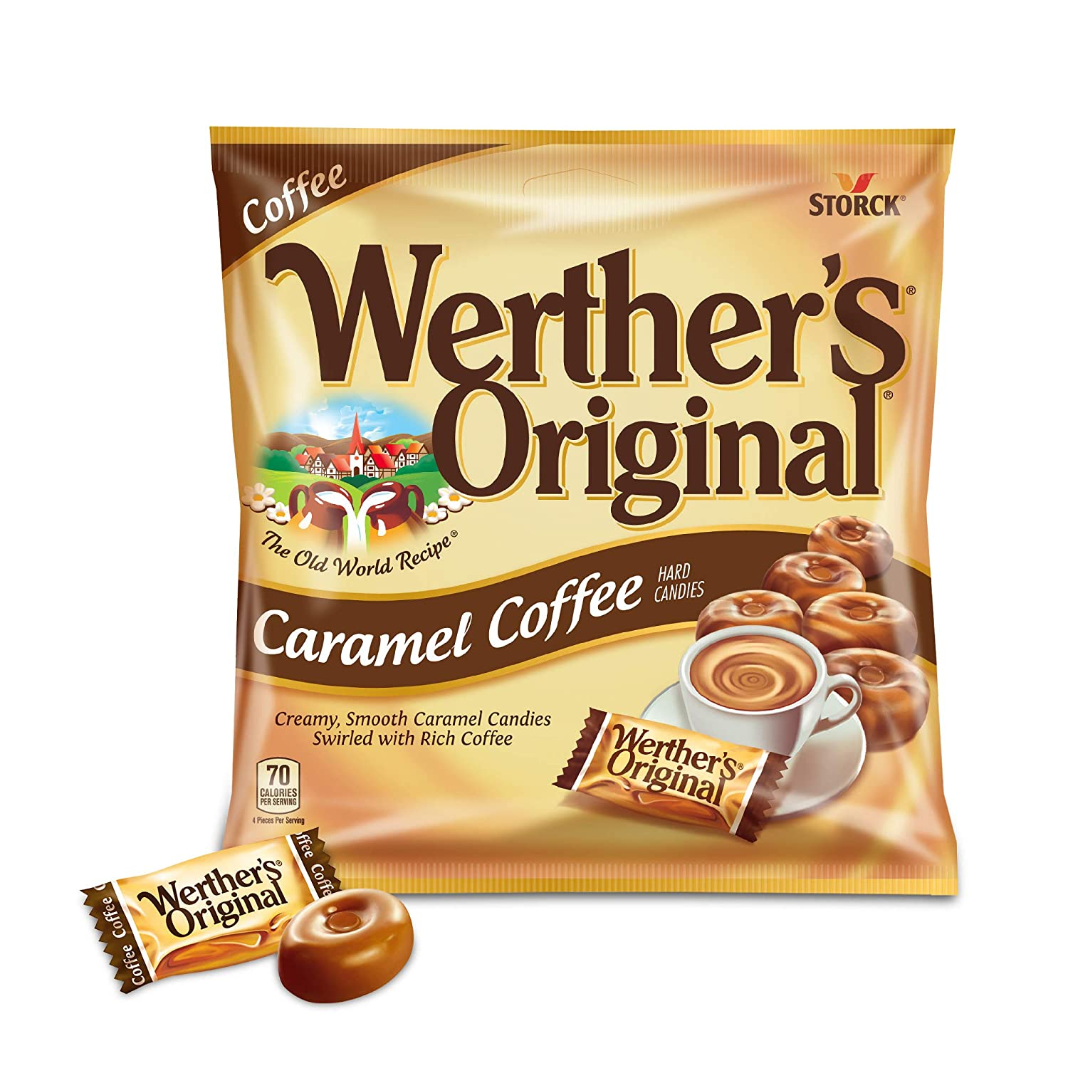 WERTHER'S ORIGINAL Caramel Coffee Hard Candy, 5.5 Ounce Bag (Pack of 12), Bulk Candy, Individually Wrapped Candy Caramels, Caramel Candy Sweets, Bag of Candy, Hard Candy Bulk