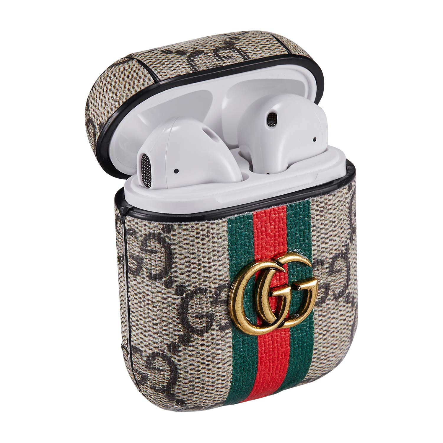 Influence of Fashion for AIRPODS Leather Case,Luxury Cover for Airpod 1//2,Wireless Headphone Designer Cool Keychain Protective Shockproof Luxurious Cases Ring for Girls Man Woman Air pods Classic GG