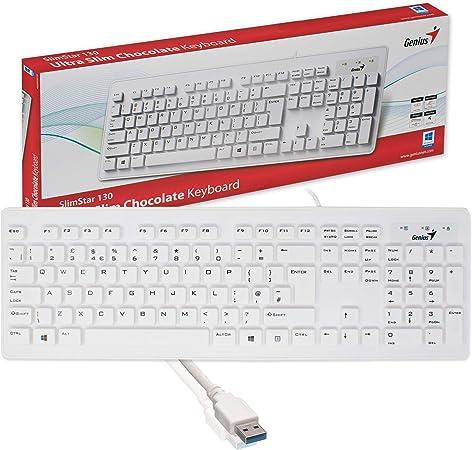 I-CHOOSE LIMITED Blanco Esbelto USB Teclado para Computadora de Escritorio PC QWERTY Layout Genius Slimstar 130