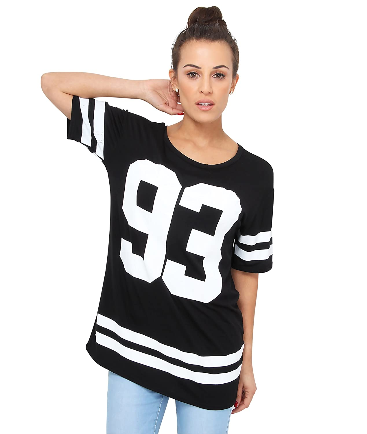 KRISP US Womens American College Print Long T Shirt Loose Tunic Top Baseball at Amazon Womens Clothing store: