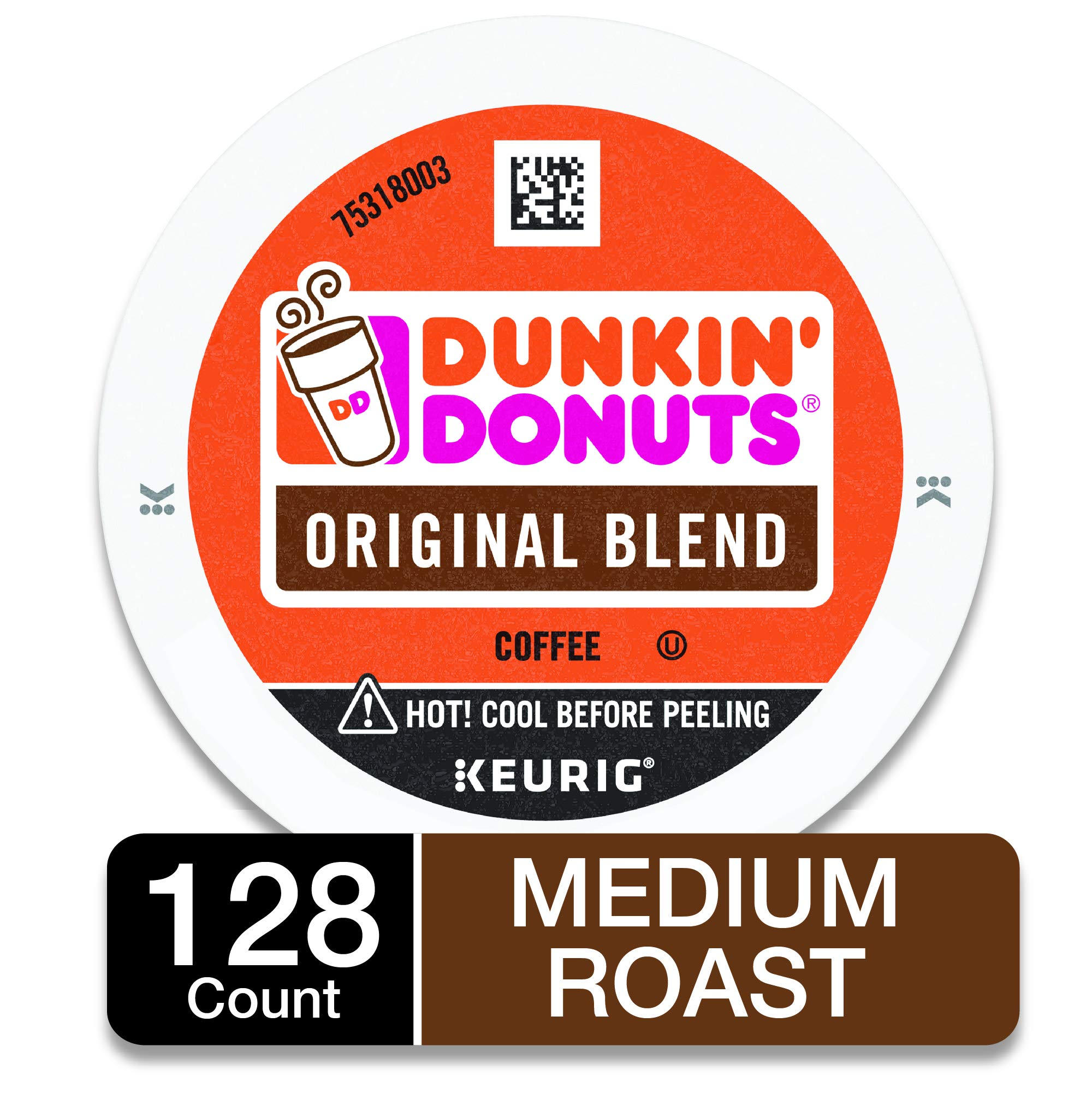 Dunkin' Donuts Original Blend Medium Roast Coffee, 128 K Cups for Keurig Makers by Dunkin' Donuts
