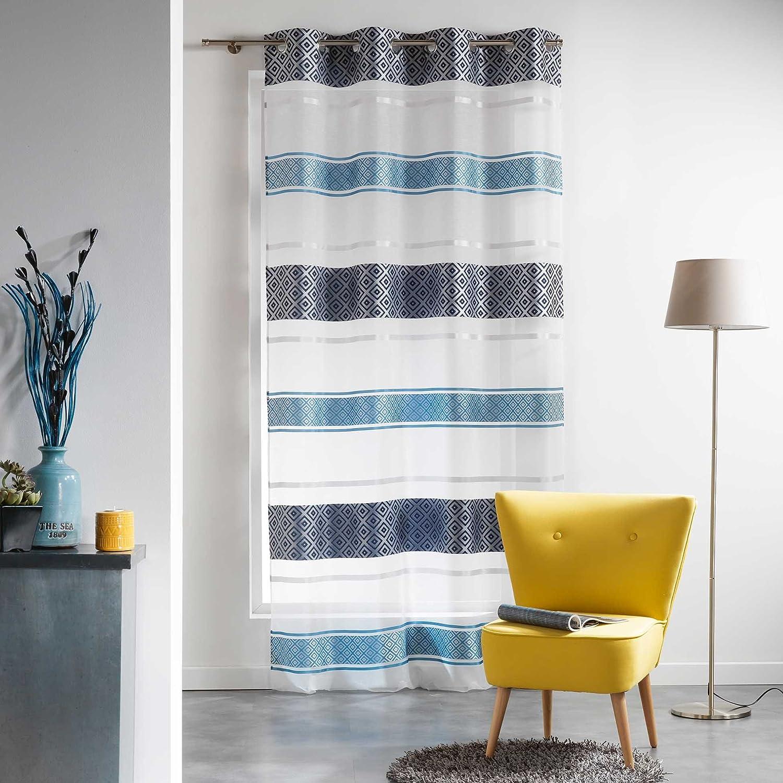 Douceur dInt/érieur Panneau A Oeillets Organza Jacquard Graphi Bleu Polyester 240x140 cm