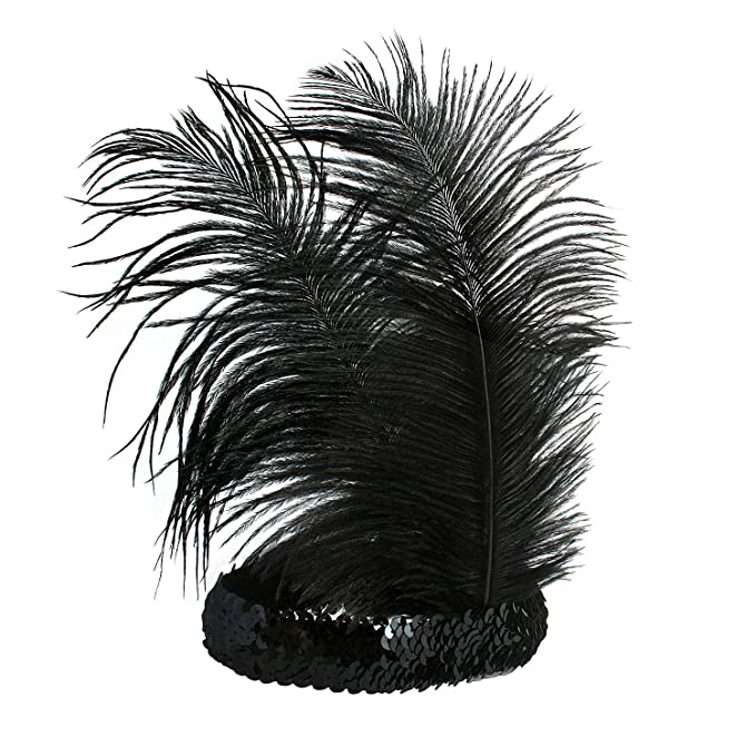 1920s Flapper Headband, Gatsby Headpiece, Wigs Babeyond® Roaring 20s Sequined Showgirl Flapper Headband Black with Feather Plume $6.89 AT vintagedancer.com