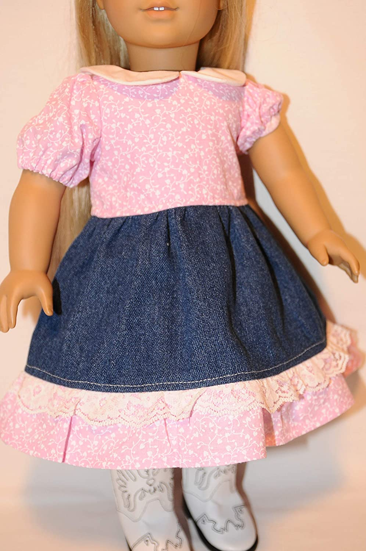 Blue Heart on Vine Square Dance Dress for 18 Dolls