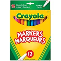 Crayola 12 Fine Line Original Markers, Adult Colouring, Bullet Journaling, School and Craft Supplies, Drawing Gift for Boys and Girls, Kids, Teens Ages 5, 6,7, 8 and Up, Back to school, School supplies, Arts and Crafts,  Gifting