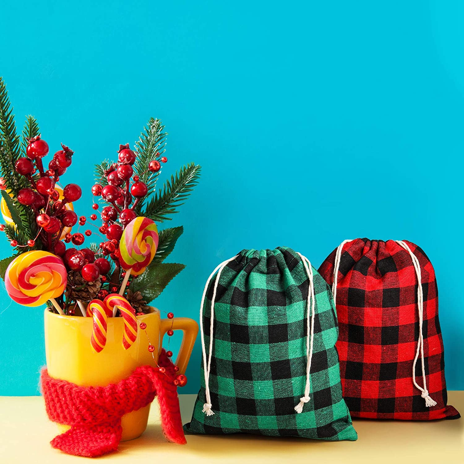 3.9 x 5.5 Inches Toys and Holiday Party Favors Supply 24 Pieces Christmas Plaid Drawstring Bag Cotton Buffalo Checked Xmas Wrapping Bags Christmas Sack Storage Bag for Xmas Present