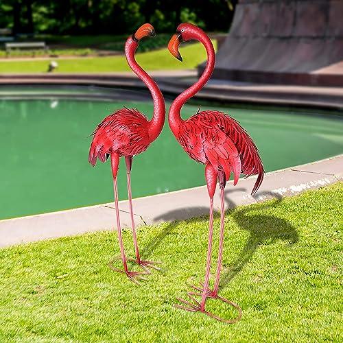 CYA-DECOR Flamingos Set of 2 Garden Statues and Sculptures Outdoor Metal Birds Yard Art