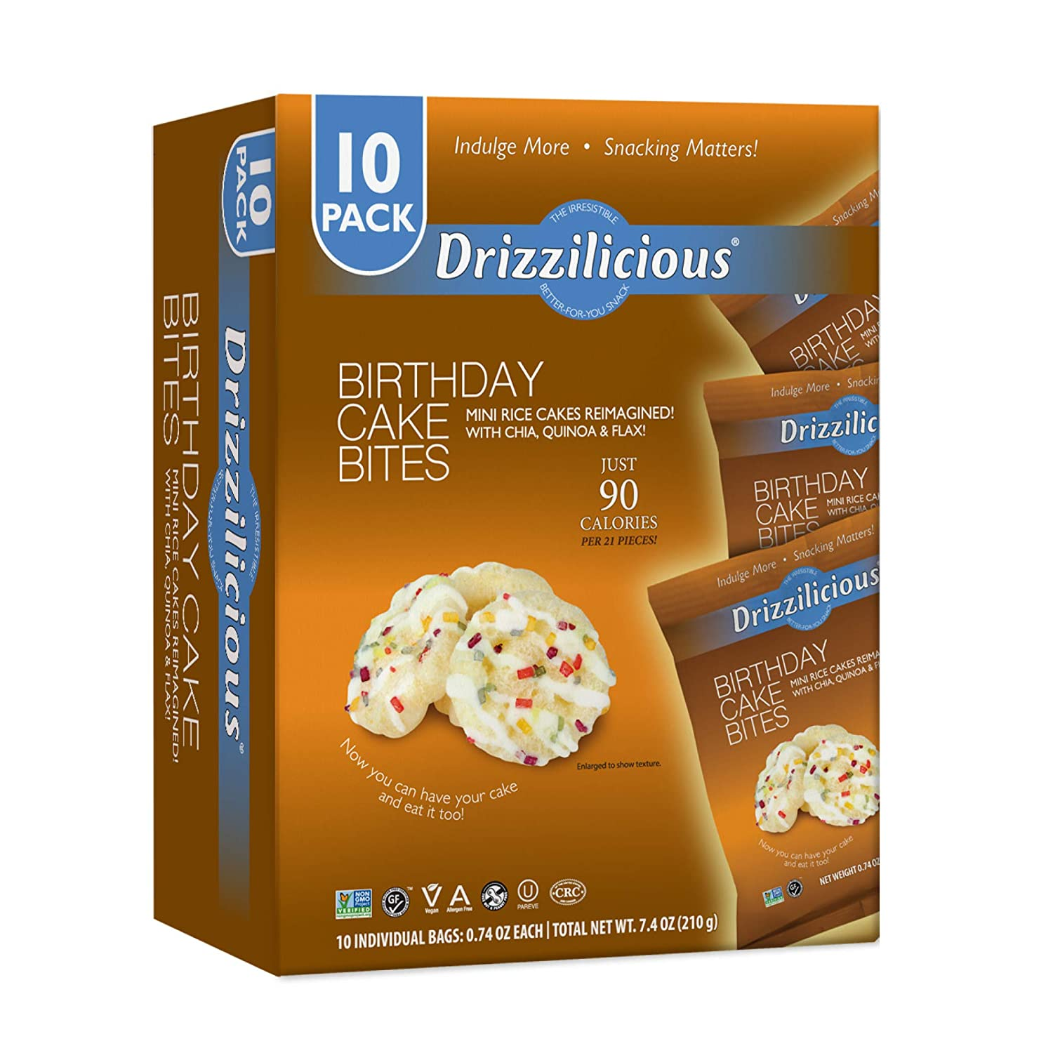 Drizzilicious Birthday Cake Snacks 10 Pack | Gluten Free Mini Snack Cupcake Rice Cakes | Vegan Air Popped Chia, Quinoa, Flax