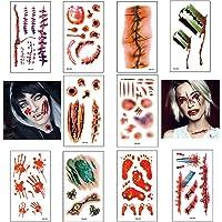 Pegatinas de tatuaje de Halloween 10 hojas Cicatrices de terror Pegatinas de tatuaje impermeables temporales Adecuado…