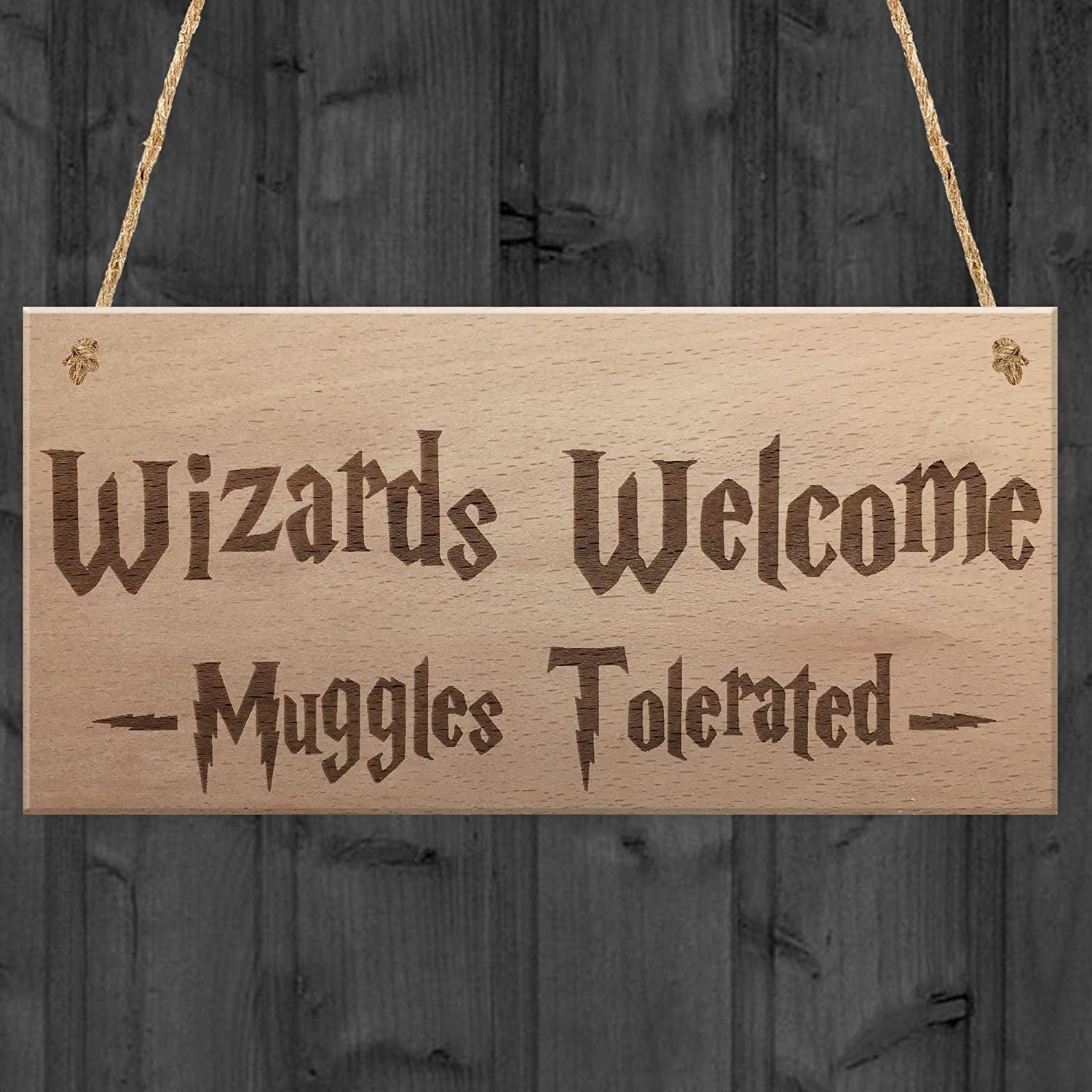 Hermosaa Wizards Welcome Muggles Tolerated Gift Hanging Plaque Magic Home Sign 4x8