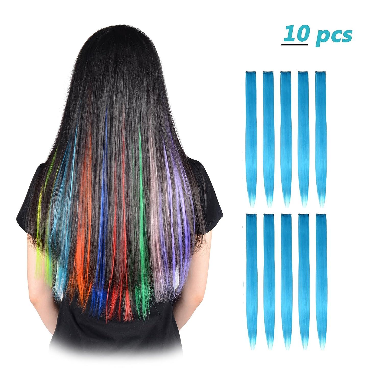 Feshfen, extension colorate a forcine con capelli lisci da 50 cm, 16 ciocche in 8 colori diversi, ideali per acconciature e Cosplay