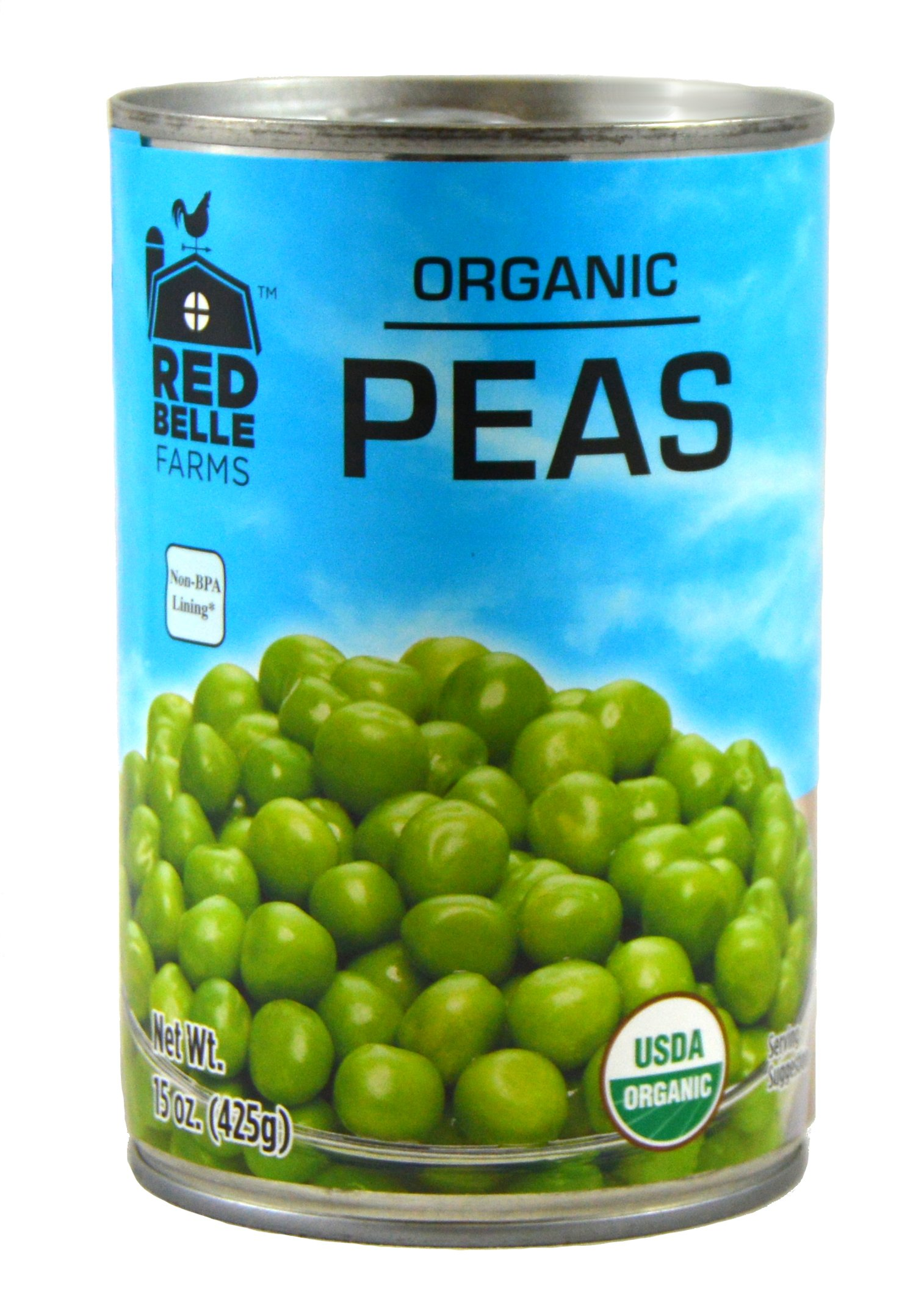 Red Belle Farms Organic Sweet Peas, 15 oz (425 g) (Pack of 12)