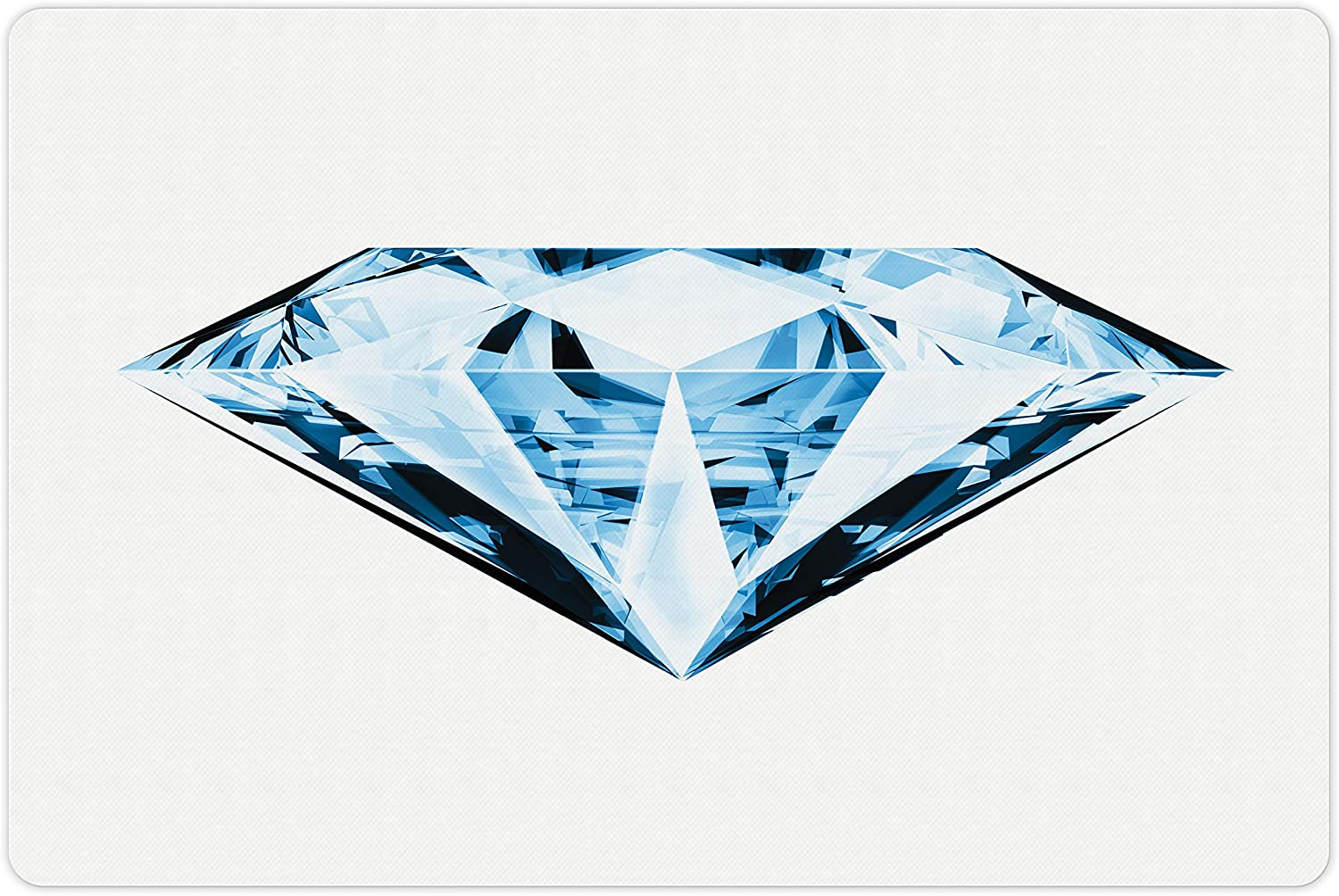 Lunarable Diamonds Pet Mat for Food and Water, Single Triangular Treasure in Blue Shades on a White Background, Rectangle Non-Slip Rubber Mat for Dogs and Cats, Pale Blue Dark Blue