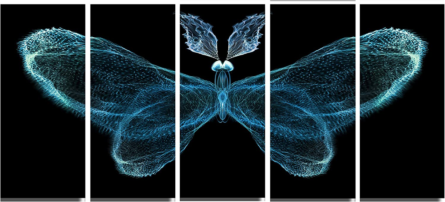Amazon Com Designart Turquoise Fractal Butterfly In Dark Large Abstract Art Canvas Print 60x28 5 Piece 60x28 5 Equal Panels Blue Posters Prints