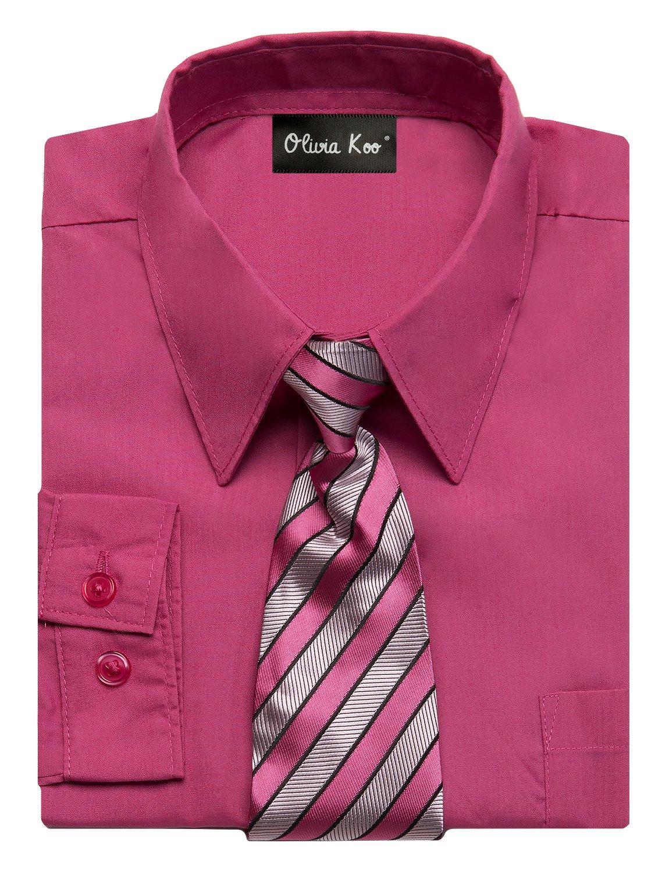 OLIVIA KOO Boys Kids Long Sleeve Solid Color Dress Shirts With Matching Windsor Tie Set Fuchsia 14,Fuchsia,14