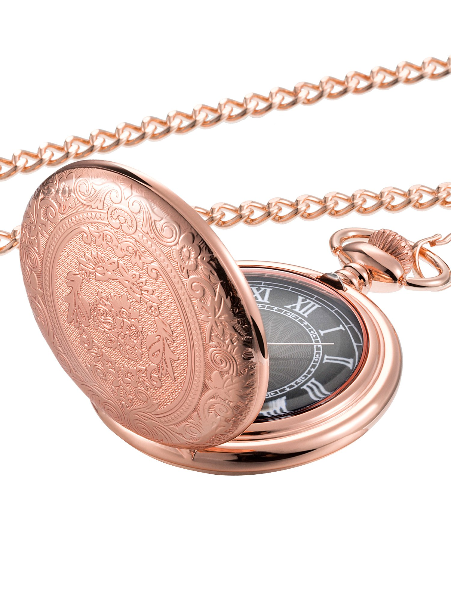 Hicarer Quartz Pocket Watch for Men with Black Dial and Chain (Rose Gold)