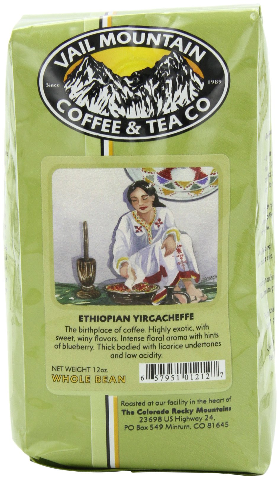 Vail Mountain Coffee & Tea Ethiopian Yirgacheffe Whole Bean Coffee, 12-Ounce Bags (Pack of 3) by Vail Mountain Coffee & Tea