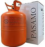 Pasamo 150 Helium SMALL in Deutschland abgefülltes Marken Heliumgas nach DIN EN ISO 14175 Ballongas mehr als 99% Rein - Orange To Go Edition - Stahlflasche GROSS mit 0,15 m³ = 150 Liter PRALL gefüllt