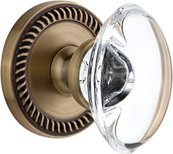 Double Dummy Satin Nickel Grandeur Newport Rosette with Provence Crystal Knob