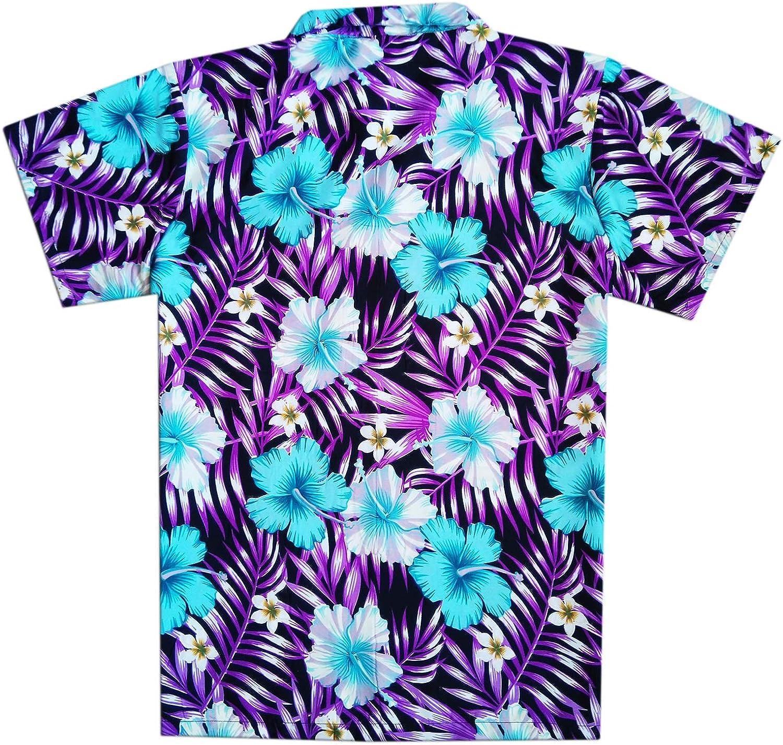 Virgin Crafts Classic Hawaiian Shirt for Men Button Down Short Sleeve Hibiscus