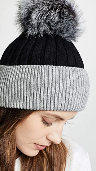0c0e1516e Jocelyn Women's Knit Hat with Fur Pom, Black/Grey, One Size at ...