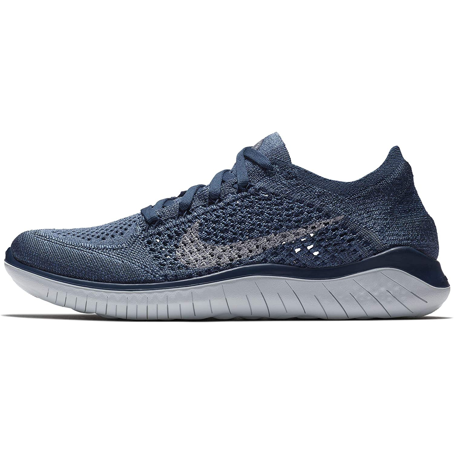 Nike Women s Free RN Flyknit 2018 Squadron Blue Pure Platinum-Light Carbon 8.0