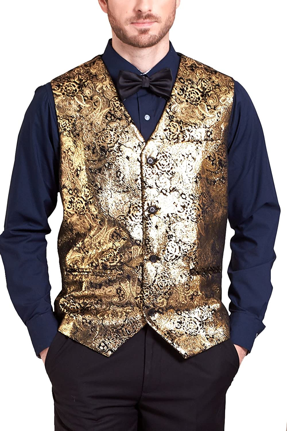 Hanayome Men 2017 New Exclusive Design Prom Weddding Party Gold V-Neck Vests SI105-VS-A1