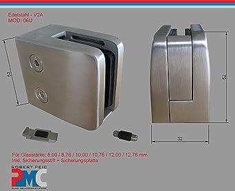 PMC Edelstahl Inox V2A f/ür Rohr 42,4mm mit Sicherungsplatte MOD:09; 12,00 mm