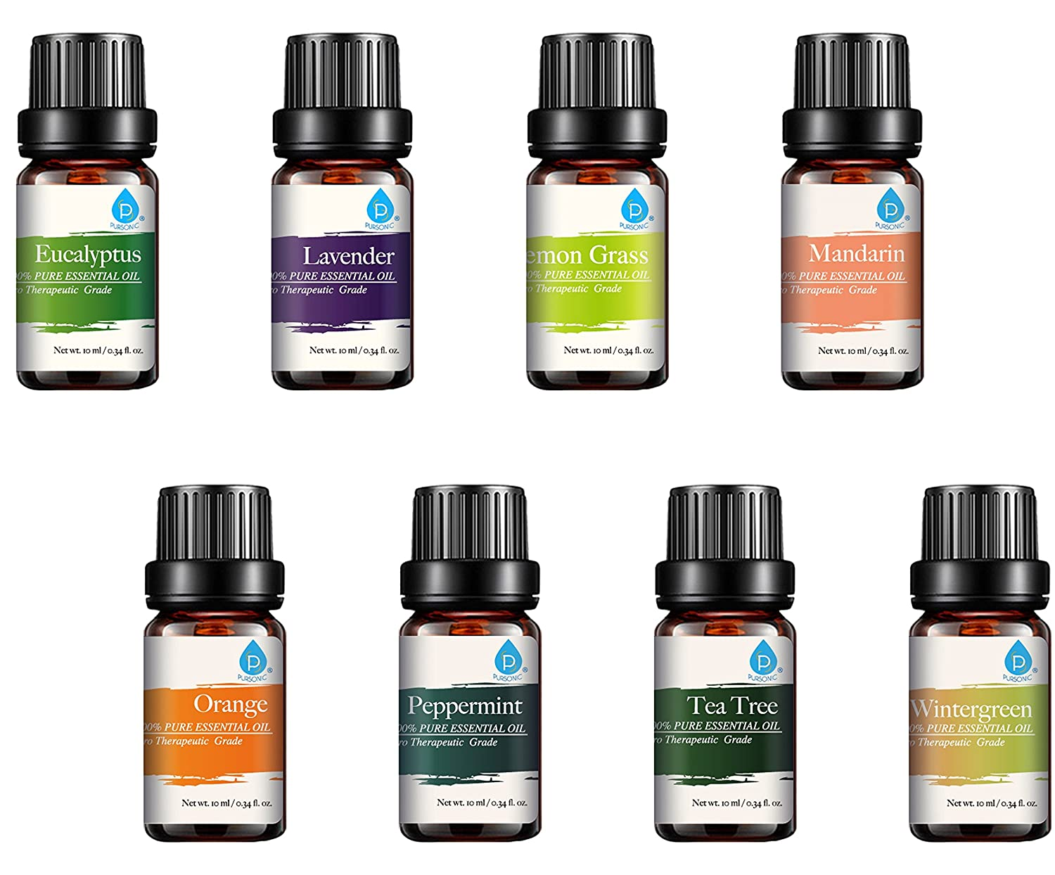 :Pursonic 100% Pure Essential Aromatherapy Oils Gift Set-8 Pack, 10ML Eucalyptus, Lavender, Lemongrass, Mandarin, Orange, Peppermint, Tea Tree & Wintergreen : Beauty