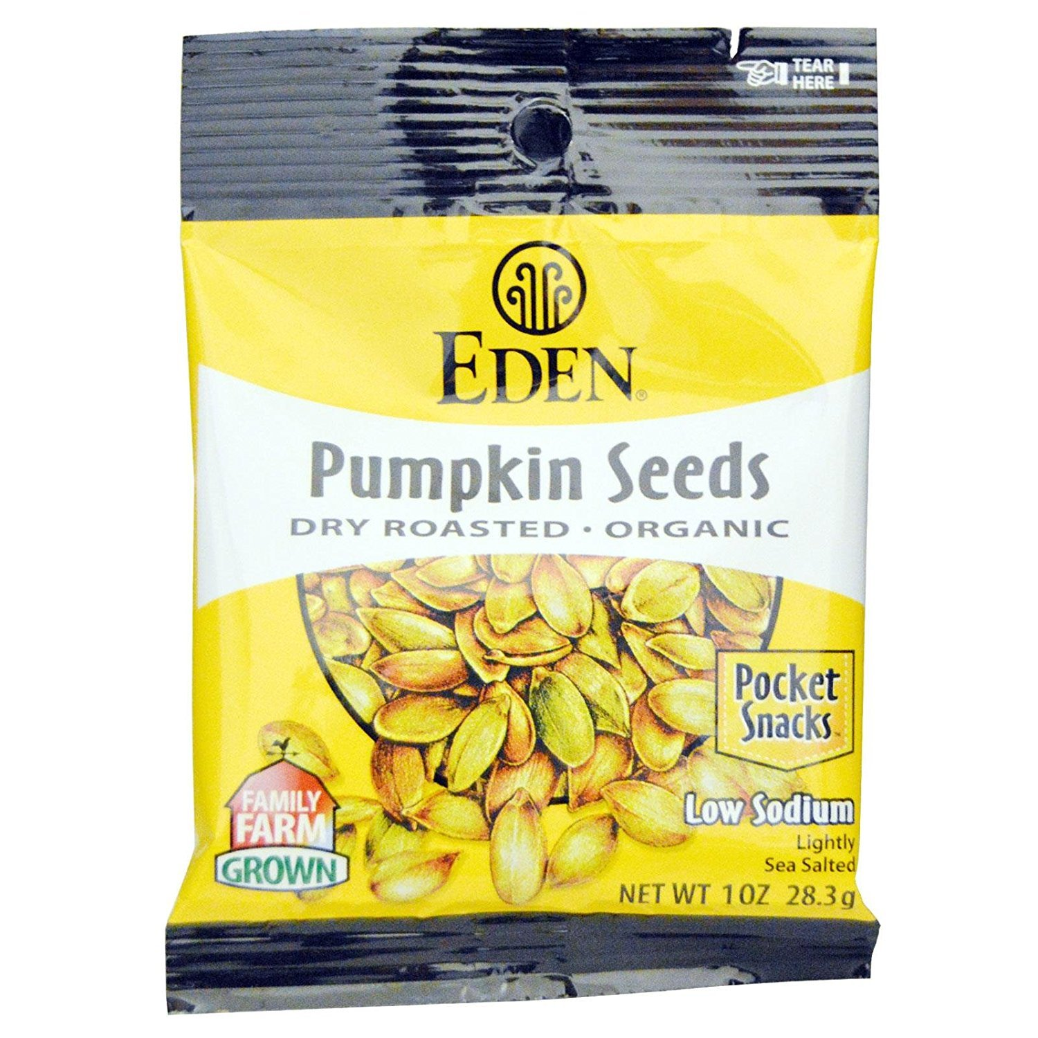 Eden Organic Pumpkin Seeds, Dry Roasted and Salted, Pocket Snacks, 1 Ounce (Pack - 24) by Eden