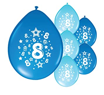 10 X 8th BIRTHDAY BOY AGE 8 BLUE AND LIGHT PACK BALLOONS PA Amazoncouk Toys Games