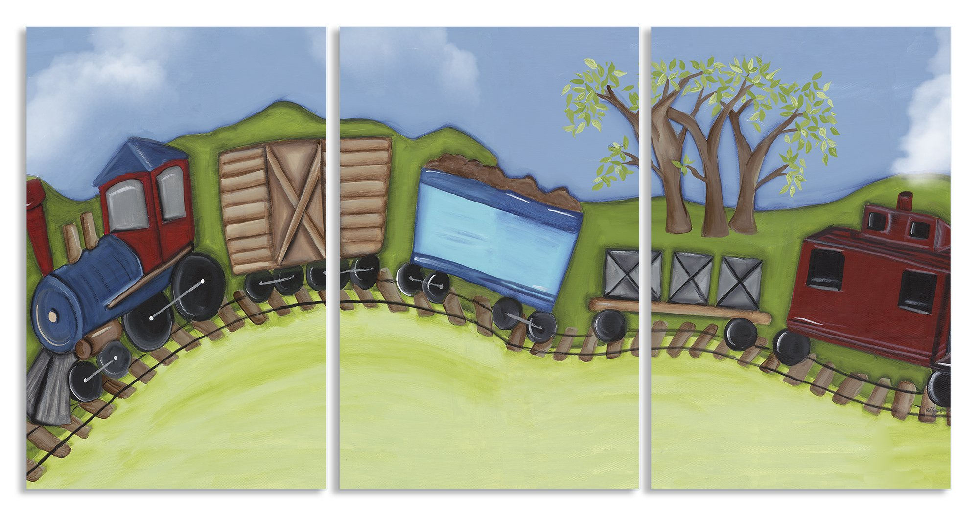 The Kids Room by Stupell Choo Choo Train Travelling On Hillside 3-Pc Rectangle Wall Plaque Set, 11 x 0.5 x 15, Proudly Made in USA
